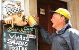 Cyclist at Lord Byron's pub, Sintra, Portugal